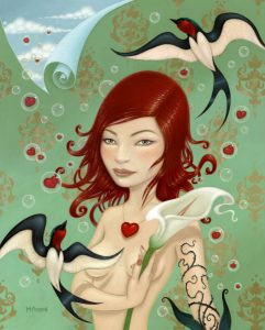 Tara  McPherson -  <strong>How Easily They Fly Away</strong> (2008<strong style = 'color:#635a27'></strong>)<bR /> oil on birch,   30 x 24 in. (76.2 x 61 cm)  36 x 30 1/4 in. framed