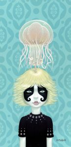 Tara  McPherson -  <strong>Somewhere Under The Rainbow (blue)</strong> (2008<strong style = 'color:#635a27'></strong>)<bR /> Oil and acrylic on birch,   Image size: 24 x 12 inches,   Framed size: 27 1/2 x 15 1/2 inches