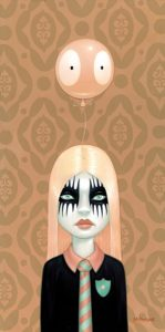 Tara  McPherson -  <strong>Somewhere Under the Rainbow (Peach)</strong> (2007<strong style = 'color:#635a27'></strong>)<bR /> Oil on birch,   Image size: 24 x 12 inches,   Framed size: 27.5 x 15.5 inches