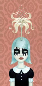 "Tara  McPherson -  <strong>Somewhere Under The Rainbow (pink)</strong> (2008<strong style = 'color:#635a27'></strong>)<bR /> <font size=""2"">Oil and acrylic on birch</font>,   Image size: 24 x 12 inches,   Framed size: 27 1/2 x 15 1/2 inches"