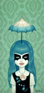 "Tara  McPherson -  <strong>Somewhere Under The Rainbow (Turquoise)</strong> (2008<strong style = 'color:#635a27'></strong>)<bR /> <font size=""2"">Oil and acrylic on birch</font>,   Image size: 24 x 12 inches,   Framed size: 27.5 x 15.5 inches"