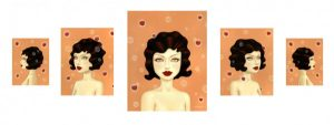 Tara  McPherson -  <strong>The Fractioned Second</strong> (2007<strong style = 'color:#635a27'></strong>)<bR /> Oil on birch, set of five panels,   Image sizes: 14 x 11, 20 x 16, 30 x 24, 20 x 16, 14 x 11 inches,   Framed sizes: 19 1/2 x 16, 24 1/4 x 21 1/4, 35 1/4 x 29 1/4, 24 1/4 x 21 1/4, 19 1/2 x 16 inches