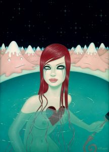 Tara  McPherson -  <strong>Weight of Water (Part 2)</strong> (2008<strong style = 'color:#635a27'></strong>)<bR /> Oil on birch,   Image size: 40 x 30 inches,   Framed size: 45 1/4 x 35 1/8 inches