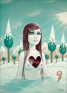 Tara  McPherson -  <strong>Weight of Water (Part 3)</strong> (2008<strong style = 'color:#635a27'></strong>)<bR /> Oil on birch,   Image size: 40 x 30 inches,   Framed size: 45 1/4 x 35 1/8 inches