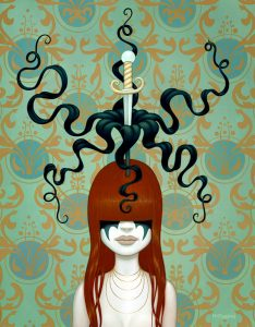 Tara  McPherson -  <strong>Untitled</strong> (2008<strong style = 'color:#635a27'></strong>)<bR /> Oil on birch,   Image size: 30 x 24 inches,   Framed size: 35 1/4 x 29 1/4 inches