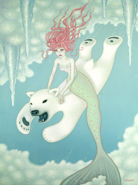Tara  McPherson -  <strong>Searching for Penguins (1)</strong> (2010<strong style = 'color:#635a27'></strong>)<bR /> oil on linen, stretched over panel,   48 x 36 inches (121.9 x 91.4 cm)  52.5 x 41 inches framed
