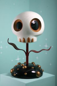 Tara  McPherson -  <strong>Skull Flower (Red)</strong> (2008<strong style = 'color:#635a27'></strong>)<bR /> Fiberglass resin sculpture,   Edition of 1,   37 x 20 x 20 inches