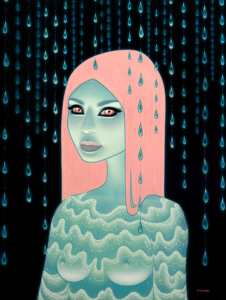 Tara  McPherson -  <strong>Wandering Luminations</strong> (2013<strong style = 'color:#635a27'></strong>)<bR /> oil on linen, streched over panel,   48 x 36 inches  (121.92 x 91.44 cm)