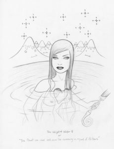 Tara  McPherson -  <strong>Drawing for Weight of Water (Part 2)</strong> (2007<strong style = 'color:#635a27'></strong>)<bR /> Graphite on Acid Free Bristol Paper,   Image size: 17 x 14 inches,   Framed size: 28 x 24.5 inches