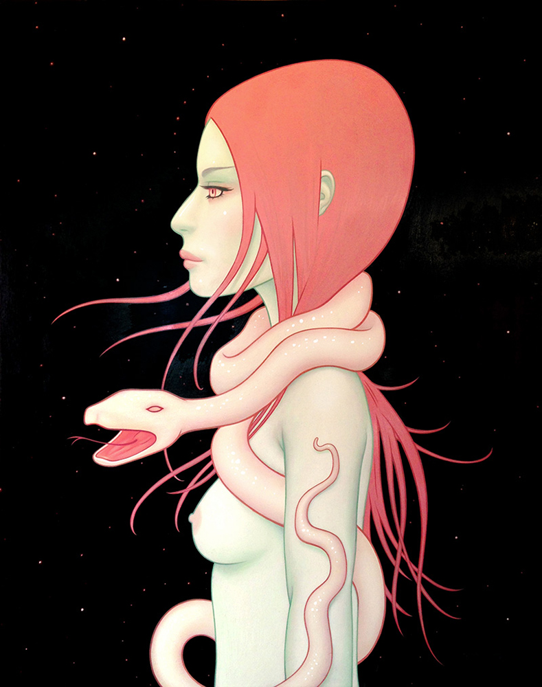 Tara  McPherson -  <strong>Cosmic Serpent</strong> (2013<strong style = 'color:#635a27'></strong>)<bR /> oil on wood panel,   30 x 24 inches  (76.2 x 60.96 cm)