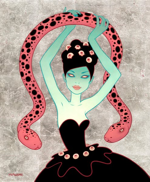 Tara  McPherson -  <strong>Ghost Dancer</strong> (2012<strong style = 'color:#635a27'></strong>)<bR /> oil on linen, stretched over panel,   20 x 24 inches  (50.8 x 60.96 cm)