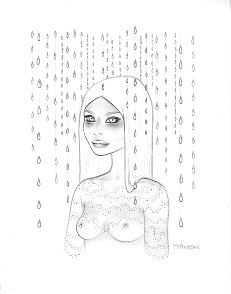 Tara  McPherson -  <strong>Wandering Luminations</strong> (2013<strong style = 'color:#635a27'></strong>)<bR /> graphite on bristol,   11 x 8.75 inches  (27.94 x 22.23 cm)  24.25 x 21.25 inches, framed