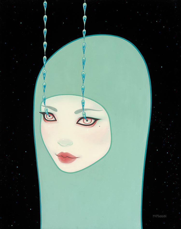 Tara  McPherson -  <strong>Wanderlust</strong> (2013<strong style = 'color:#635a27'></strong>)<bR /> oil on wood panel,   30 x 24 inches  (76.2 x 60.96 cm)