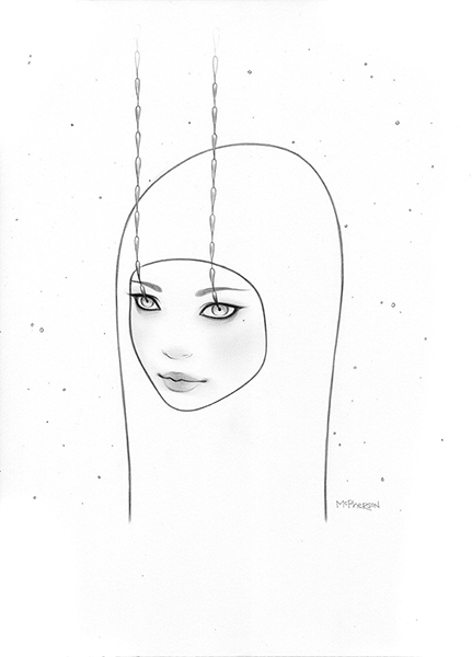 Tara  McPherson -  <strong>Wanderlust</strong> (2013<strong style = 'color:#635a27'></strong>)<bR /> graphite on bristol,   13 x 10 inches  (33.02 x 25.4 cm)  25.25 x 22.25 inches, framed