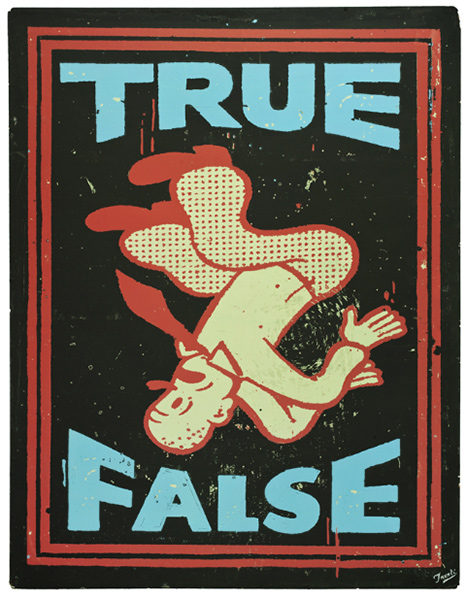 Gary  Taxali -  <strong>True False</strong> (2009<strong style = 'color:#635a27'></strong>)<bR /> ink on board,   37 3/4 x 26 1/2 in. (95.9 x 67.3 cm)