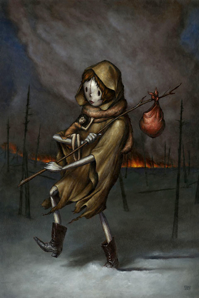 """Esao  Andrews -  <strong>The Last Hour</strong> (2007<strong style = 'color:#635a27'></strong>)<bR /><p class=""""MsoNormal"""">Oil on Wood,  <p class=""""MsoNormal""""><span style=""""font-family: Helvetica;"""">Image size: 24 x 16 inches</span>,  <p class=""""MsoNormal""""><span style=""""font-family: Helvetica;"""">Framed size: 30 1/2 x 22 1/2 inches,   </span>"""