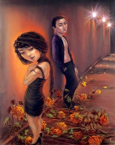 """Xiaoqing  Ding -  <strong>The Beginning and the End</strong> (2007<strong style = 'color:#635a27'></strong>)<bR /> Pastel on Paper,   <span style=""""font-family: Helvetica;"""">Image size: 40 x 32 inches,   </span>,  <p class=""""MsoNormal""""><span style=""""font-family: Helvetica;"""">Framed size: 41 x 33 inches,   </span>"""