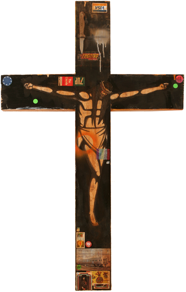 Date Farmers  &nbsp -  <strong>The New Crucifix</strong> (2008<strong style = 'color:#635a27'></strong>)<bR /> Mixed Media and Collage on Wood,   47 x 29 1/2 inches,  <p />