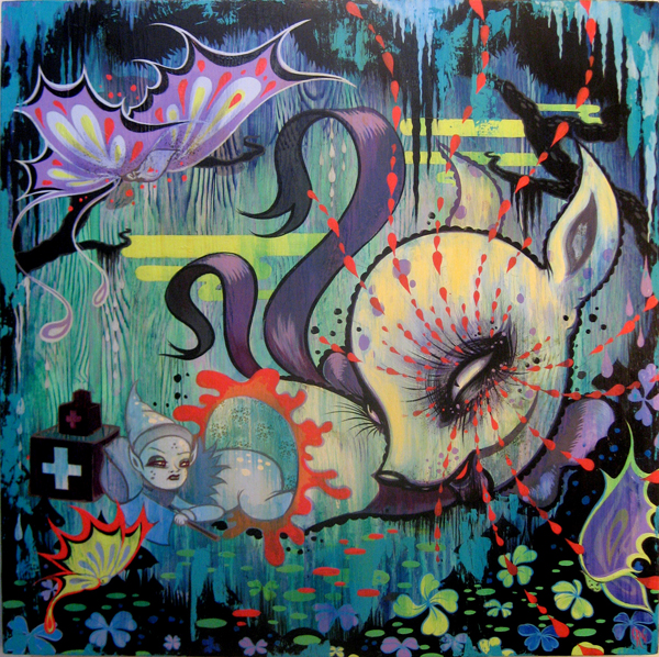 Camille Rose  Garcia -  <strong>Night Shelter</strong> (2009<strong style = 'color:#635a27'></strong>)<bR /> acrylic and glitter on wood panel,   24 x 24 inches