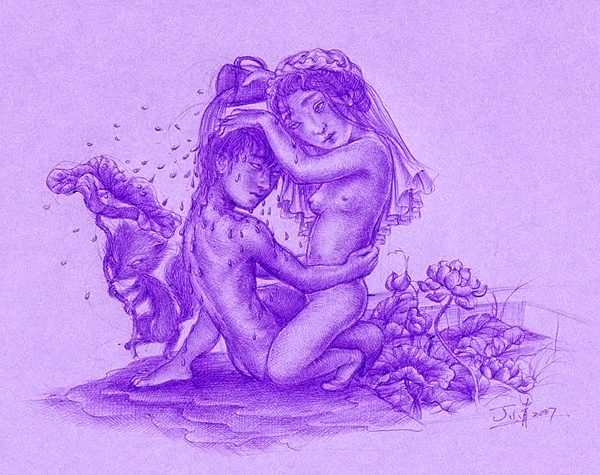 """Xiaoqing  Ding -  <strong>The Sin</strong> (2007<strong style = 'color:#635a27'></strong>)<bR /> Ballpoint Pen on Paper,   Image size: 9 x 11 inches,   <span style=""""font-family: Helvetica;"""">Framed size: 13 1/2 x 16 inches</span>"""