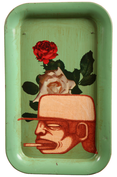 Date Farmers  &nbsp -  <strong>The Smoker</strong> (2008<strong style = 'color:#635a27'></strong>)<bR /> Mixed Media on Tray,   9 x 14 inches