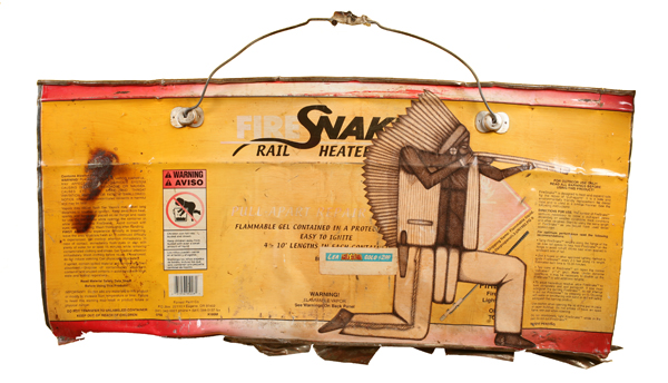 Date Farmers  &nbsp -  <strong>Snake Shooter</strong> (2008<strong style = 'color:#635a27'></strong>)<bR /> Mixed Media and Collage on Found Metal,   17 x 35 inches