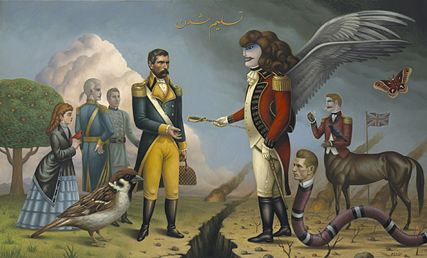 Alex  Gross -  <strong>The Surrender</strong> (2008<strong style = 'color:#635a27'></strong>)<bR /> Oil on Canvas,   Image Size: 36 x 60 inches,   Framed Size: 43 x 67 inches