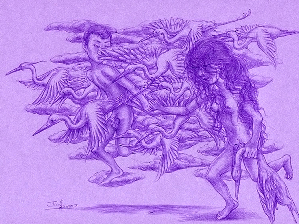 "Xiaoqing  Ding -  <strong>The One</strong> (2007<strong style = 'color:#635a27'></strong>)<bR /> Ballpoint Pen on Paper,   Image size: 9 x 11 inches,   <span style=""font-family: Helvetica;"">Framed size: 13 1/2 x 16 inches</span>"