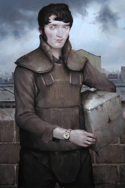 "Jonathan  Viner -  <strong>The Courier's Kevlar</strong> (2007<strong style = 'color:#635a27'></strong>)<bR /> Oil on Panel,   Image Size: 36 x 24 inches,  <p class=""MsoNormal""><span style=""font-family: Helvetica"">Framed size: 41 1/2 29 1/2 inches</span>"