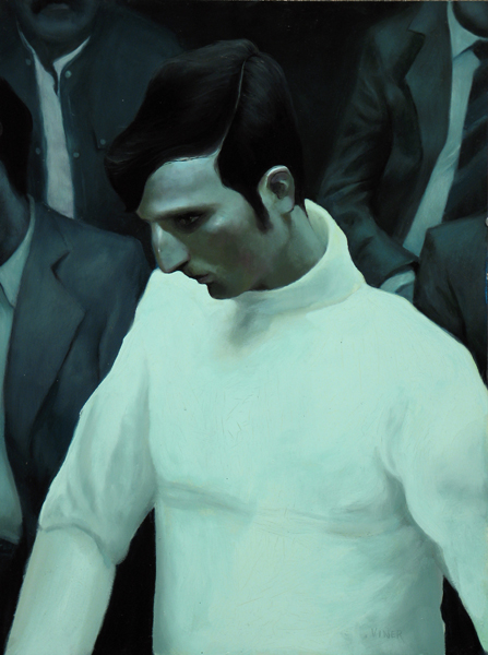 "Jonathan  Viner -  <strong>The Fencer</strong> (2007<strong style = 'color:#635a27'></strong>)<bR /> Oil on Panel,   Image Size: 24 x 18 inches,  <p class=""MsoNormal""><span style=""font-family: Helvetica"">Framed size: 28 3/4 x 22 3/4 inches</span>"