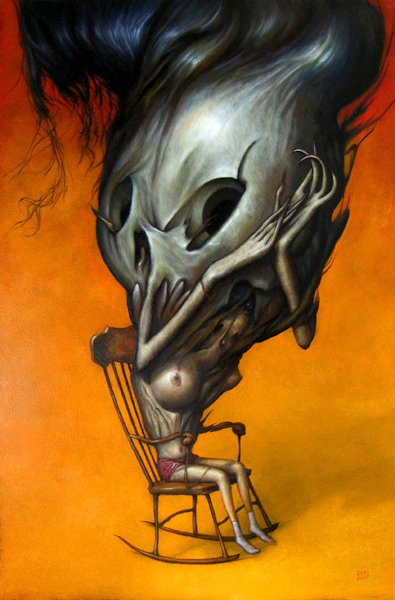 "Esao  Andrews -  <strong>The Scourge</strong> (2007<strong style = 'color:#635a27'></strong>)<bR /> Oil on Wood,  <p class=""MsoNormal""><span style=""font-family: Helvetica;"">Image size: 24 x 16 inches,   </span>,  <p class=""MsoNormal""><span style=""font-family: Helvetica;"">Framed size: 30 1/2 x 22 1/2 inches</span>,  <p class=""MsoNormal""><span style=""font-family: Helvetica;"">,   </span>"