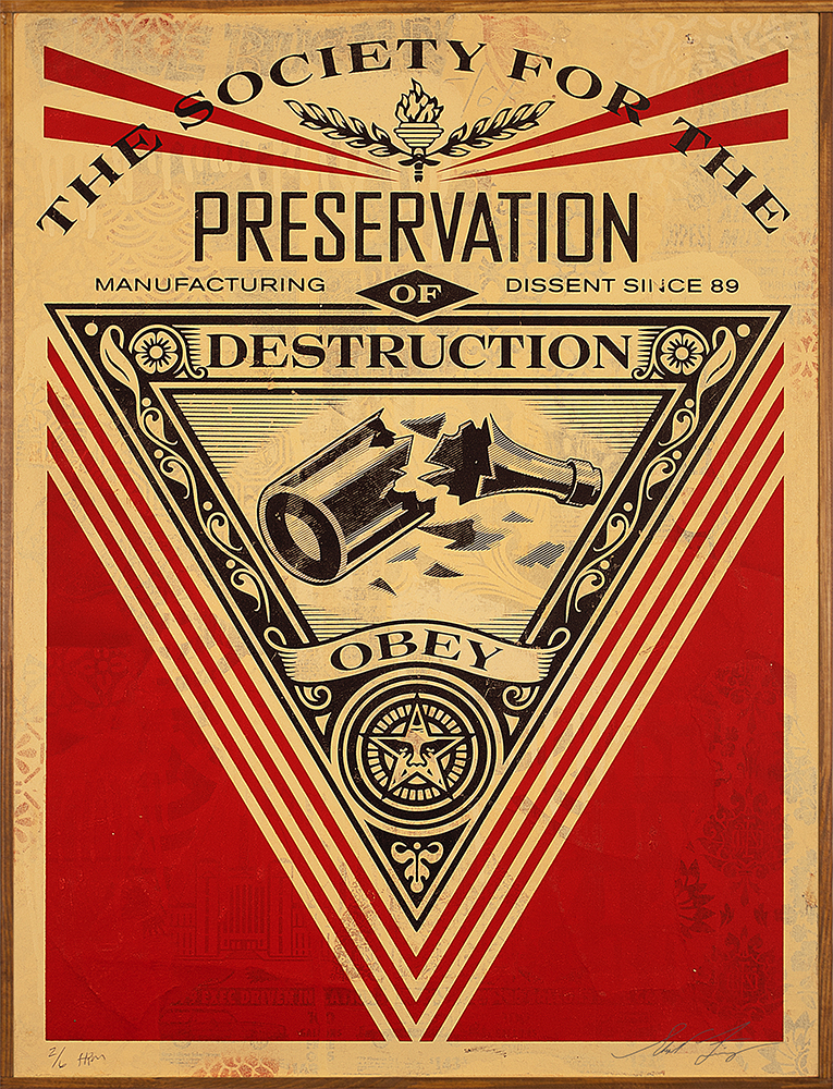 Shepard  Fairey -  <strong>Society of Destruction</strong> (2015<strong style = 'color:#635a27'></strong>)<bR /> silkscreen and mixed media collage on paper,   30 x 44 inches  (76.2 x 111.8 cm),   HPM, edition 6 of 8