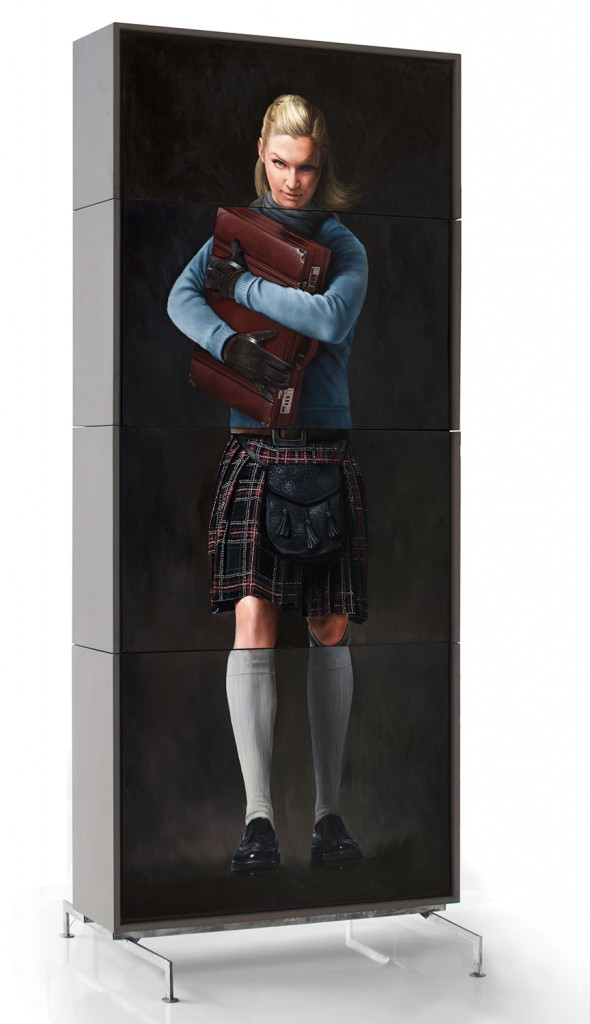 Andreas  Englund -  <strong>The Suitcase</strong> (2015<strong style = 'color:#635a27'></strong>)<bR /> oil on interchangeable canvas mounted on mdf board casings on steel feet,   41.73 x 94.49 x 11.81 inches  (106 x 240 x 30 cm),   edition 1 of 1,   Assembles into 16 separate configurations