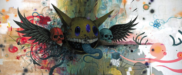 Jeff  Soto -  <strong>The Sun Rises Again</strong> (2009<strong style = 'color:#635a27'></strong>)<bR /> acrylic on panel  60 x 144 inches  (152.4 x 365.76 cm)