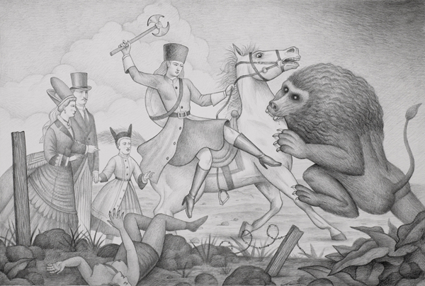 Alex  Gross -  <strong>The Beast</strong> (2008<strong style = 'color:#635a27'></strong>)<bR /> graphite on Strathmore Bristol Paper,   16 x 24 inches  (40.64 x 60.96 cm)  28 x 36 inches, framed
