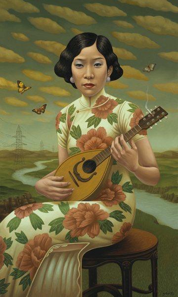 Alex  Gross -  <strong>The Mandolin</strong> (2008<strong style = 'color:#635a27'></strong>)<bR /> Oil on Canvas,   Image Size: 50 x 30 inches,   Framed Size: 57 x 37 inches