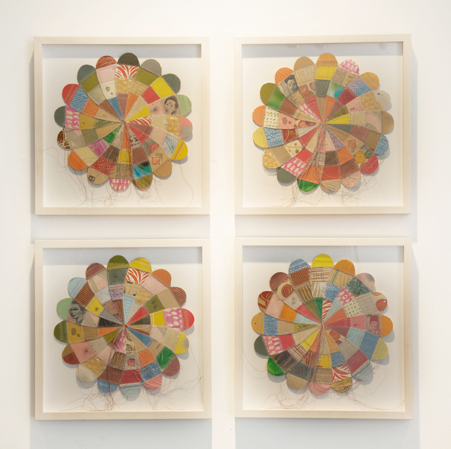 Thomas  Campbell -  <strong>4 Medium Flower</strong> (2014<strong style = 'color:#635a27'></strong>)<bR /> paper, acrylic, packing envelope, thread, acrylic, spray paint, pencil, rice bags, money, resin and fiberglass,   28 x 30 x 1 3/4 inches, total,   (71.12 x 76.2 x 4.45 cm), total,   14 1/8 x 13 7/8 inches each, framed