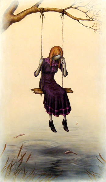 "Esao  Andrews -  <strong>Thought</strong> (2007<strong style = 'color:#635a27'></strong>)<bR /> Oil on Wood,  <p class=""MsoNormal""><span style=""font-family: Helvetica;"">Image size: 32 x 19 inches,   </span>,  <p class=""MsoNormal""><span style=""font-family: Helvetica;"">Framed size: 38 1/2 x 25 inches,   </span>"