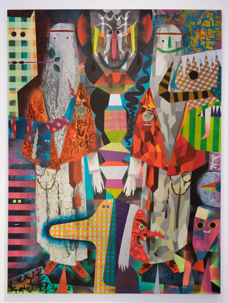 Tim  Biskup -  <strong>Procession of Mysteries</strong> (2013<strong style = 'color:#635a27'></strong>)<bR /> cel-vinyl acrylic on canvas,   96 x 72 inches  (243.84 x 182.88 cm)