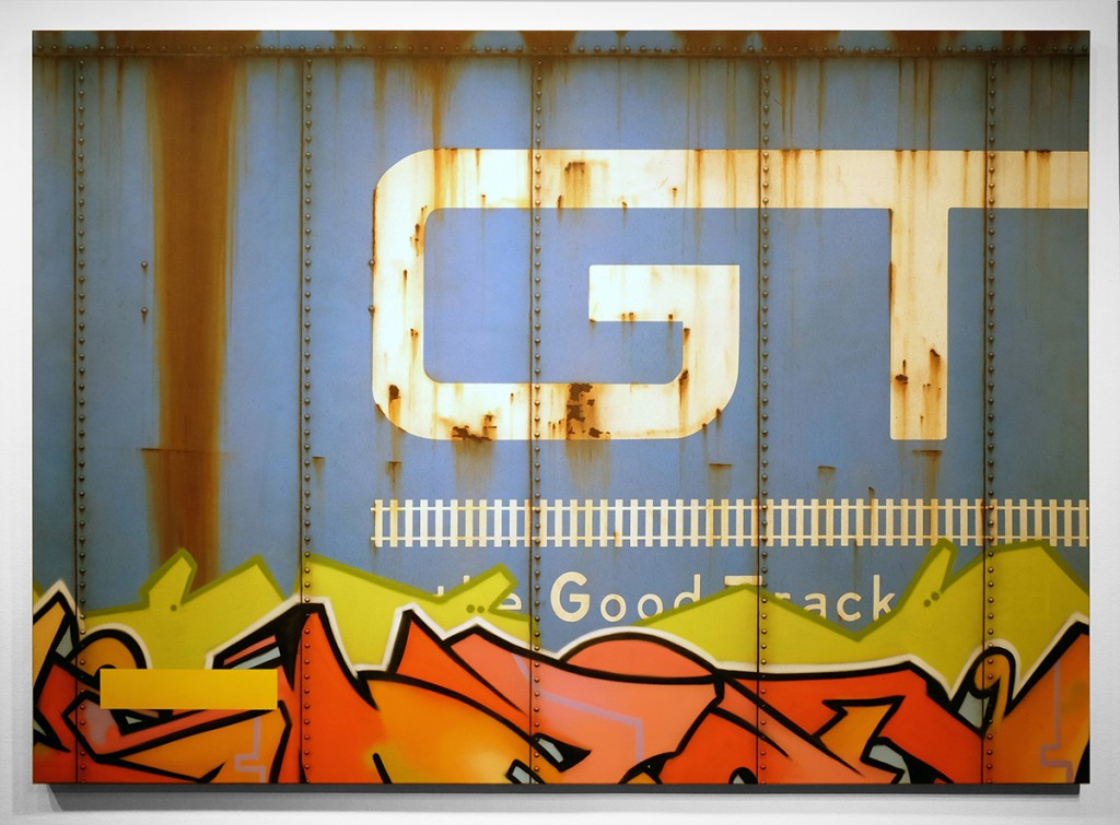 Tim  Conlon -  <strong>Blank Canvas #52- GTW</strong> (2014<strong style = 'color:#635a27'></strong>)<bR /> spray paint, paint marker and acrylic on canvas,   60 x 84 inches  (152.40 x 213.36 cm)