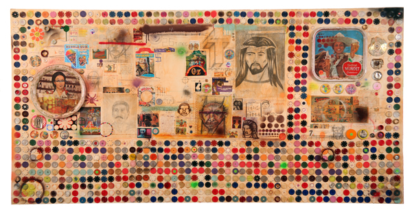 Date Farmers  &nbsp -  <strong>Time Machine</strong> (2008<strong style = 'color:#635a27'></strong>)<bR /> Mixed Media and Collage on Wood,   48 x 96 inches