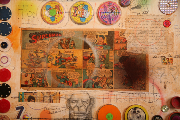 Date Farmers  &nbsp -  <strong>Time Machine (Detail 1)</strong> (2008<strong style = 'color:#635a27'></strong>)<bR /> Mixed Media and Collage,   48 x 96 inches
