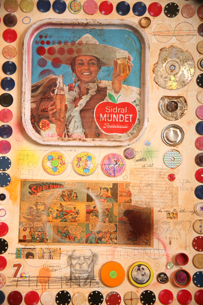 Date Farmers  &nbsp -  <strong>Time Machine (Detail 4)</strong> (2008<strong style = 'color:#635a27'></strong>)<bR /> Mixed Media on Wood,   48 x 96 inches