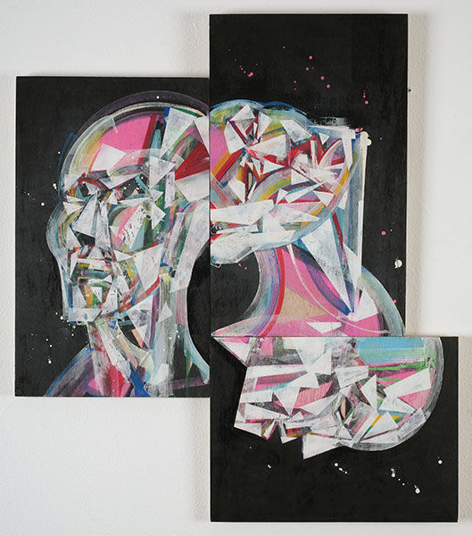 Hamilton  Yokota (Titi Freak) -  <strong>Triptych</strong> (2010<strong style = 'color:#635a27'></strong>)<bR /> acrylic and spray paint on wood,   31.25 x 27 inches  (79.4 x 68.6 cm)
