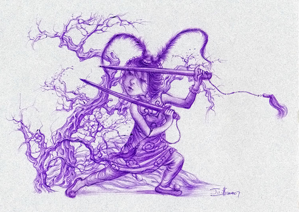 """Xiaoqing  Ding -  <strong>To Heal</strong> (2007<strong style = 'color:#635a27'></strong>)<bR /> Ballpoint Pen on Paper,   Image size: 9 x 11 inches,   <span style=""""font-family: Helvetica;"""">Framed size: 13 1/2 x 16 inches</span>"""