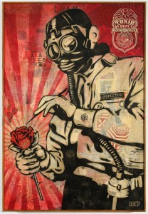 Shepard Fairey -  <strong>Toxic Department</strong> (2007<strong style = 'color:#635a27'></strong>)<bR /> mixed media on canvas 5 x 5 feet