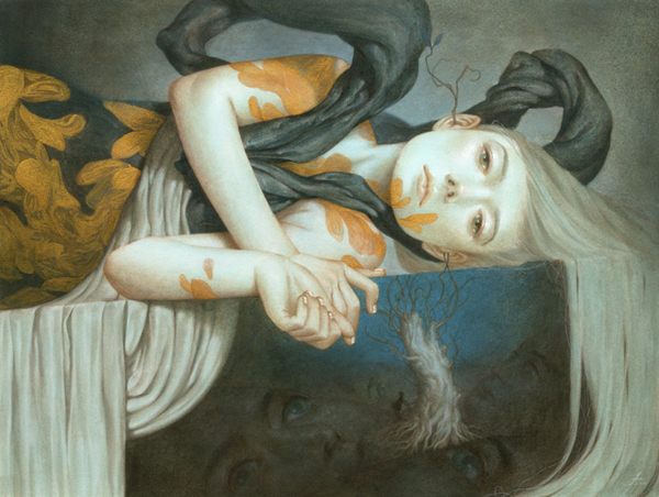 Tran  Nguyen -  <strong>When You Leave Behind a Fragmented Memory</strong> (2010<strong style = 'color:#635a27'></strong>)<bR /> acrylic and colored pencil on paper  12 x 16 inches (30.48 x 40.64 cm)  19.75 x 23.5 inches, framed