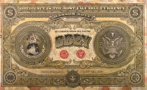 Shepard Fairey -  <strong>Two Sides of Capitalism - Bad (Installation)</strong> (2007<strong style = 'color:#635a27'></strong>)<bR /> mixed media on wood 10 x 16 feet