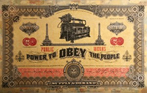 Shepard Fairey -  <strong>Two Sides of Capitalism - Good (installation)</strong> (2007<strong style = 'color:#635a27'></strong>)<bR /> mixed media on wood 11 x 16 feet