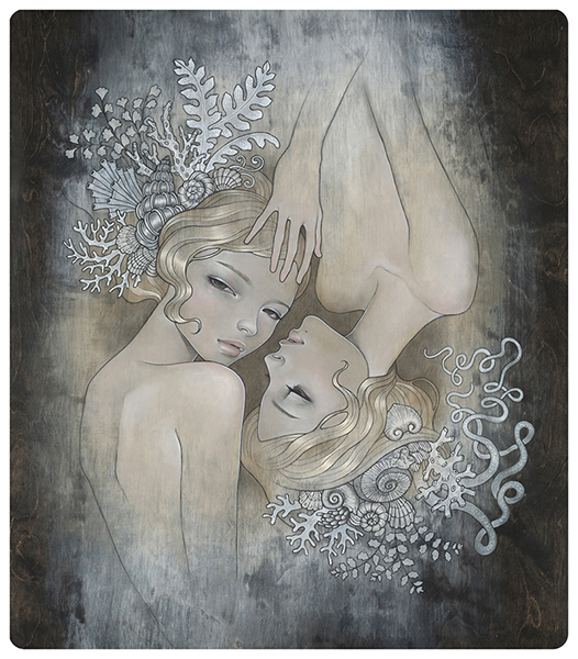 Audrey  Kawasaki -  <strong>Two Sisters</strong> (2008<strong style = 'color:#635a27'></strong>)<bR /> UltraChrome print on 300 gsm paper,   26 x 22 inches (66.04 x 55.88 cm)  30 x 25.75 inches, framed,   Edition 21 of 75